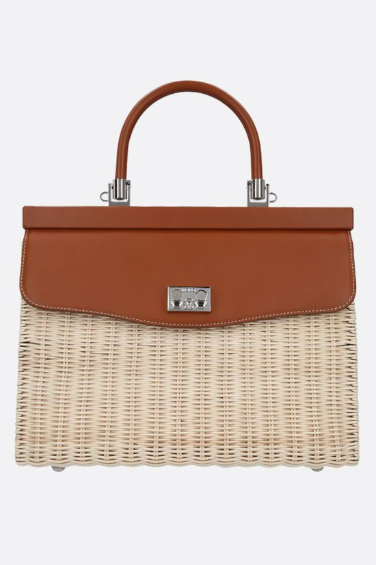 RODO: wicker and smooth leather top handle bag Color Neutral_1
