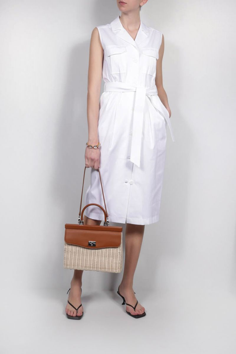 RODO: wicker and smooth leather top handle bag Color Neutral_2