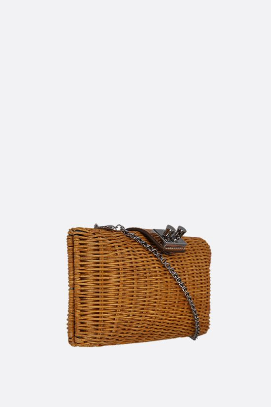 RODO: leather-detailed wicker chain clutch Color Brown_2