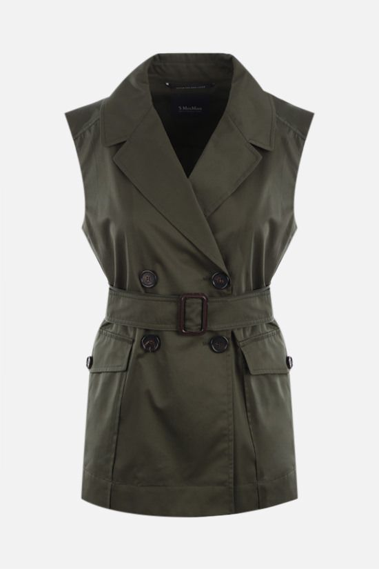 'S MAX MARA: Galvano cotton double-breasted vest Color Green_1