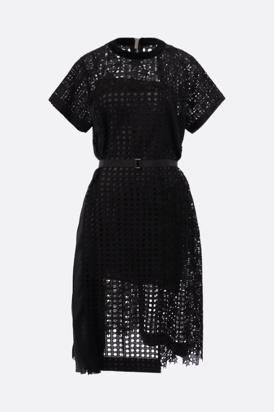 SACAI: pleated panel-detailed broderie anglaise midi dress Color Black_1