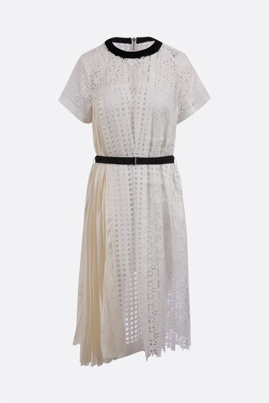 SACAI: pleated panel-detailed broderie anglaise midi dress Color White_1