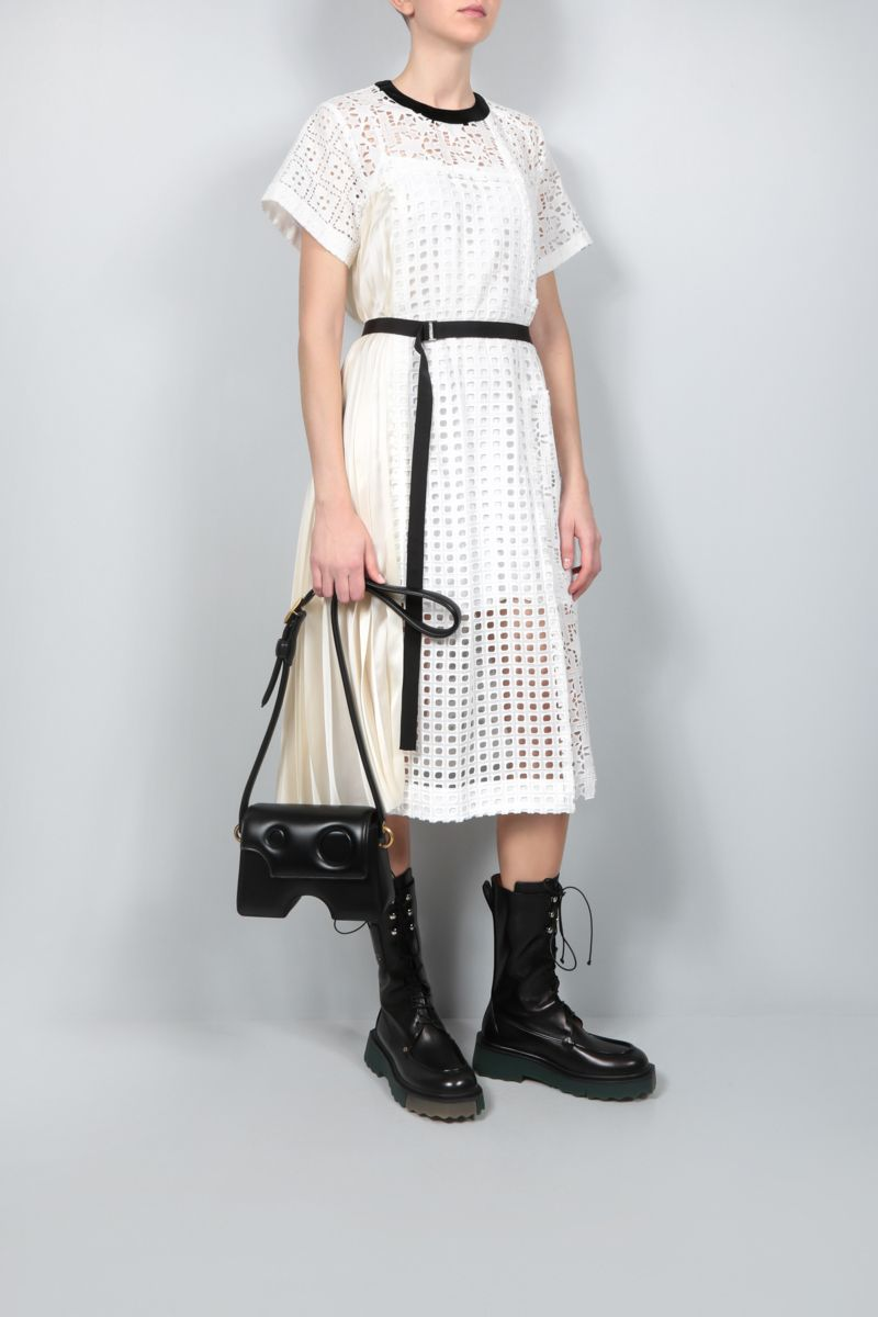 SACAI: pleated panel-detailed broderie anglaise midi dress Color White_2