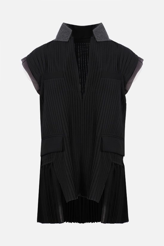 SACAI: pleated technical wool sleeveless blouse Color Black_1