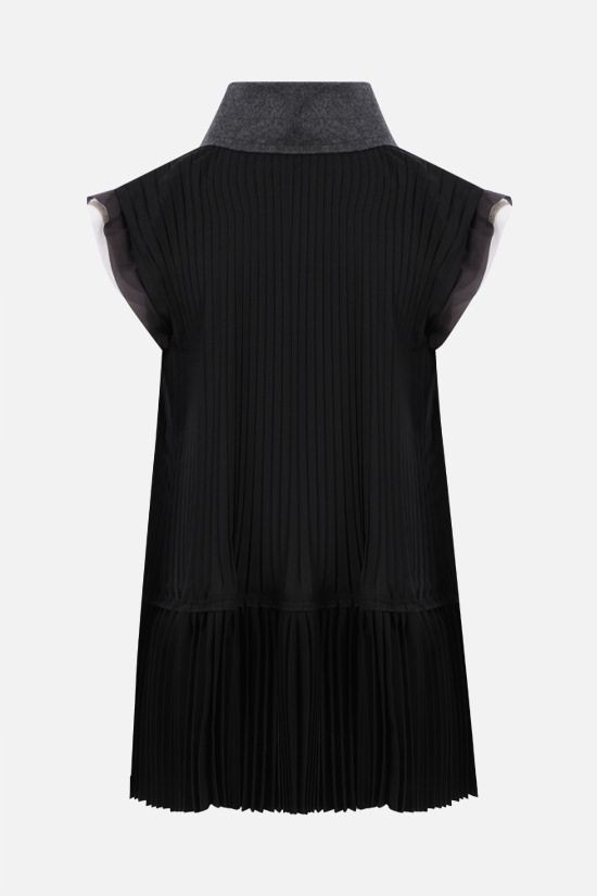 SACAI: pleated technical wool sleeveless blouse Color Black_2