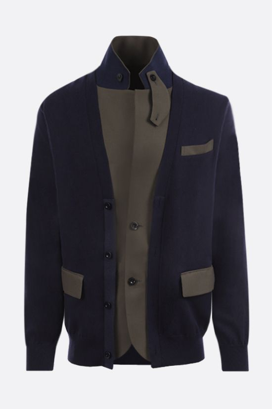 SACAI: cotton and technical wool destructured cardigan Color Blue_1
