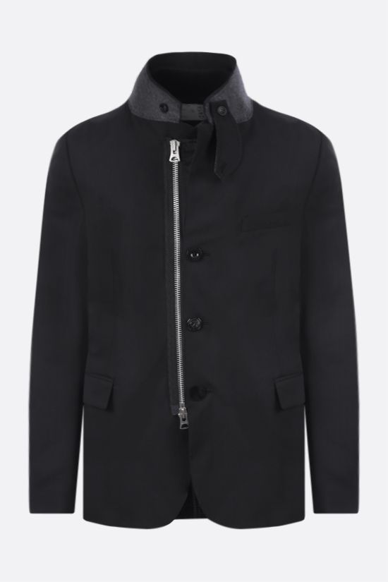 SACAI: technical wool and nylon destructured jacket Color Black_1