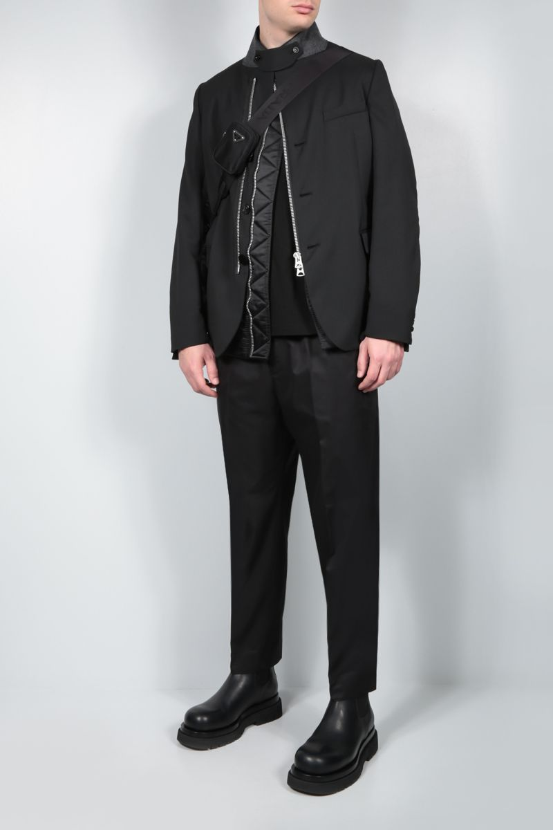 SACAI: technical wool and nylon destructured jacket Color Black_2