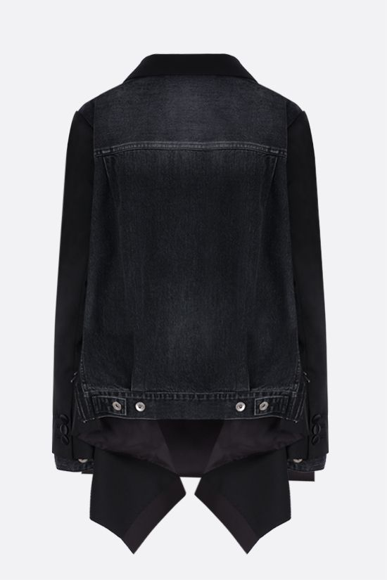 SACAI: double-breasted technical wool and denim jacket Color Black_2