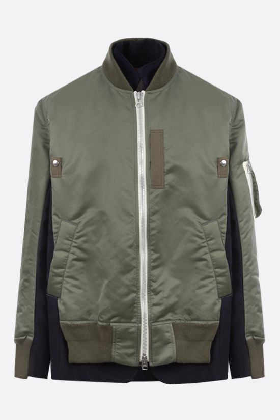 SACAI: nylon and technical wool destructured bomber jacket Color Brown_1