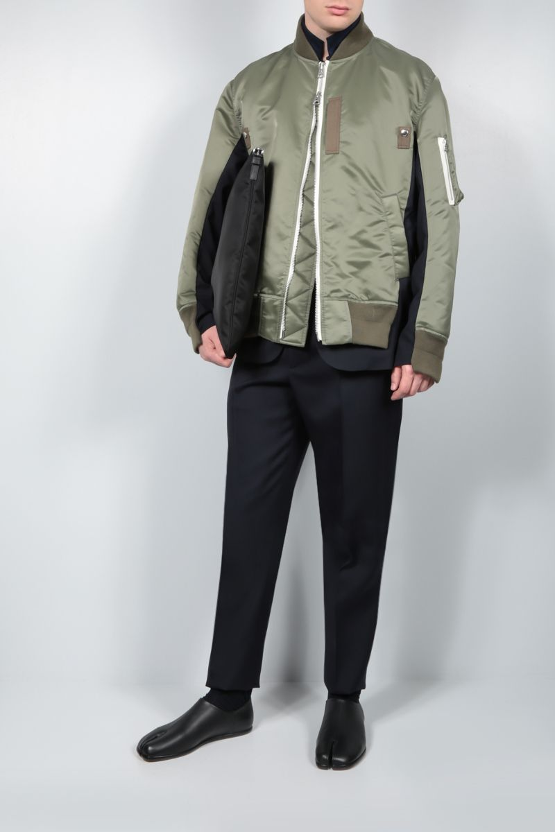 SACAI: nylon and technical wool destructured bomber jacket Color Brown_2