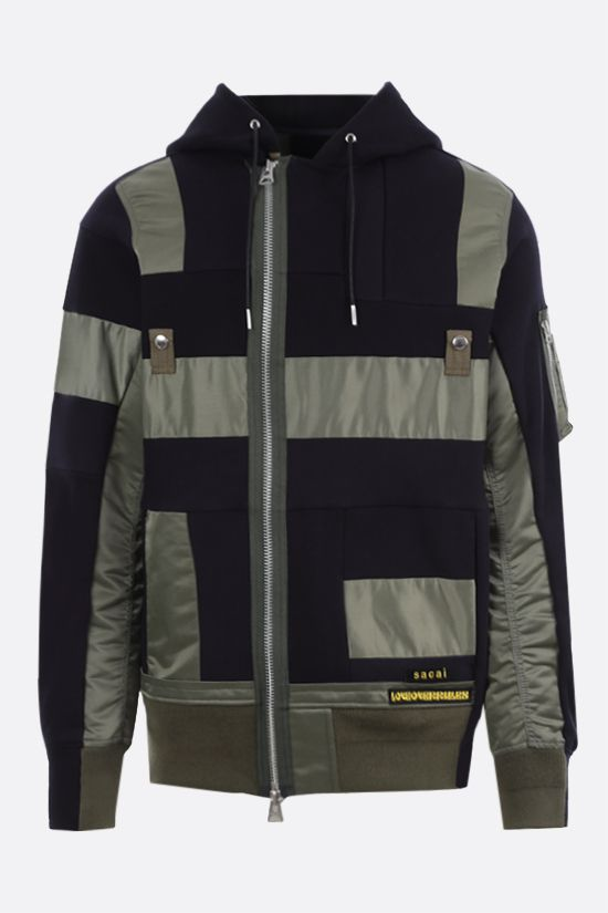SACAI: jersey and nylon patchwork full-zip hoodie Color Blue_1