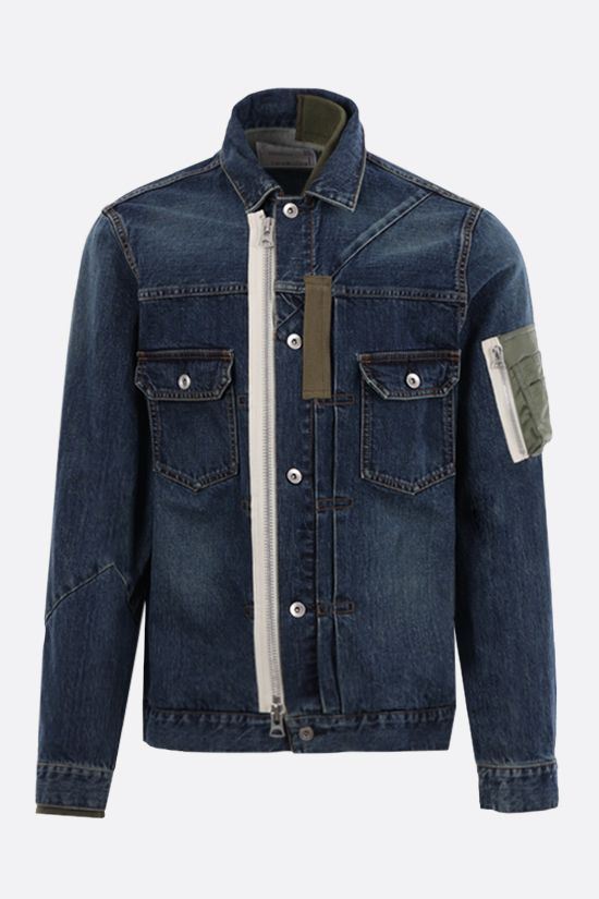 SACAI: giubbotto full-zip in denim con inserti in nylon Colore Blu_1