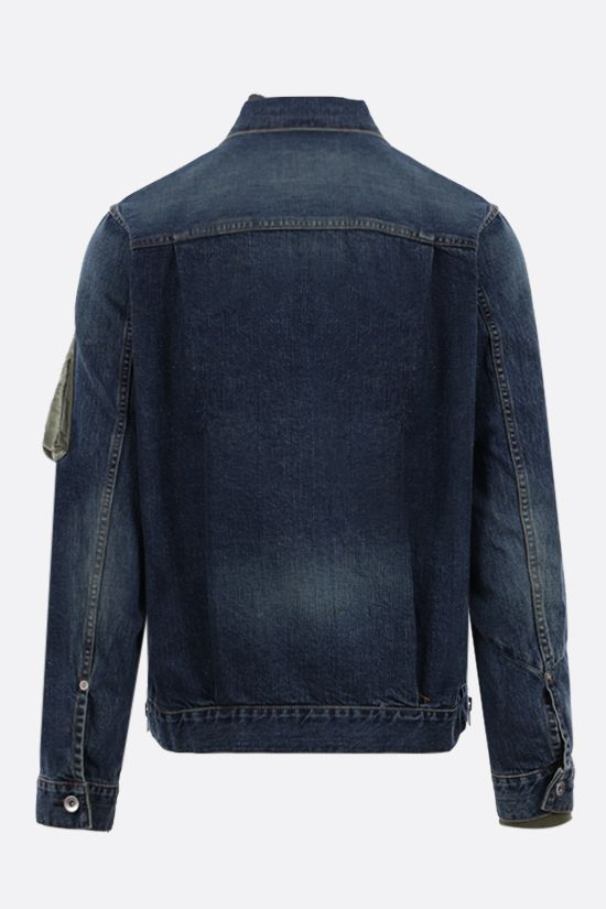 SACAI: giubbotto full-zip in denim con inserti in nylon Colore Blu_2