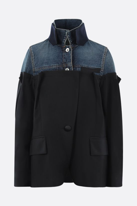 SACAI: technical wool and denim destructured jacket Color Black_1