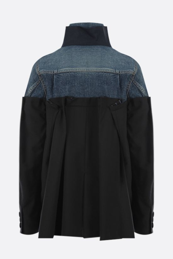 SACAI: technical wool and denim destructured jacket Color Black_2