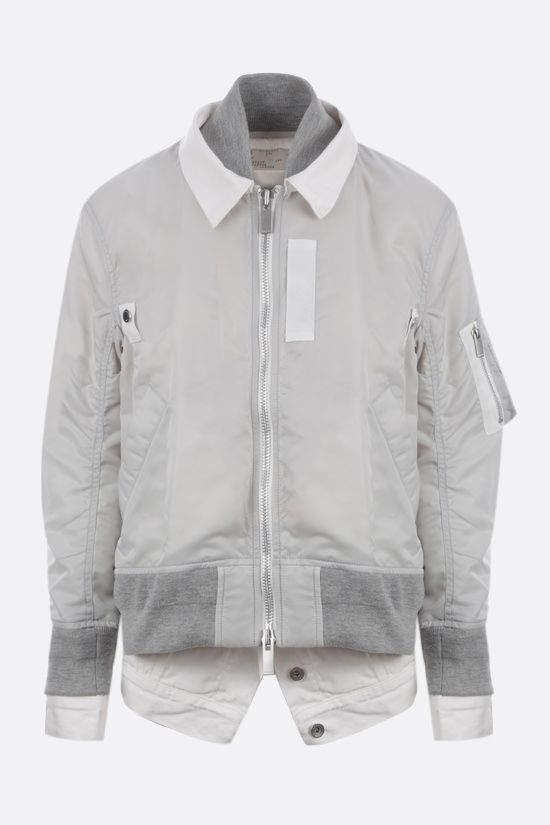 SACAI: denim-detailed nylon bomber jacket Color Grey_1