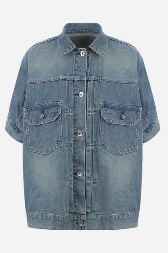 SACAI: short-sleeved oversize denim jacket Color Blue_1