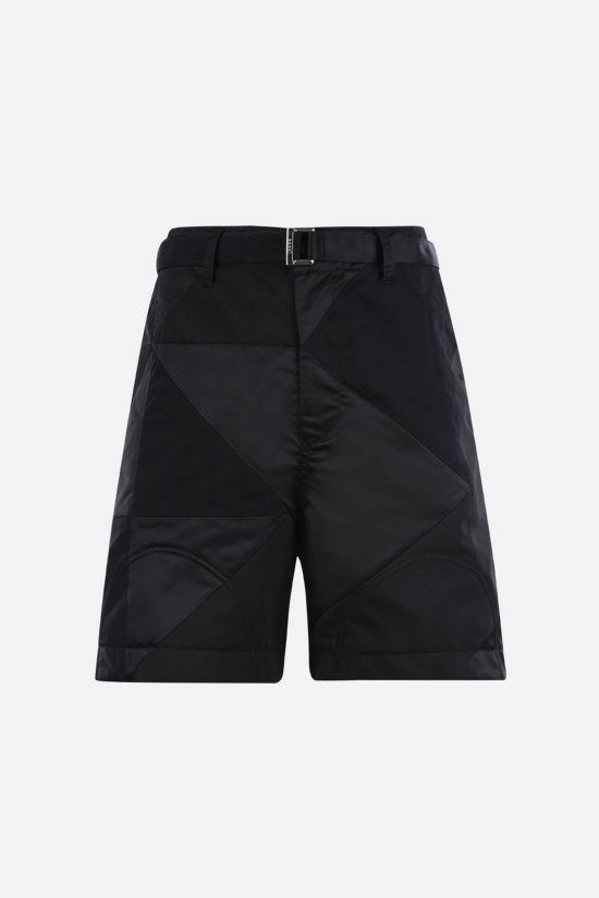 SACAI: wool and nylon patchwork shorts Color Black_1