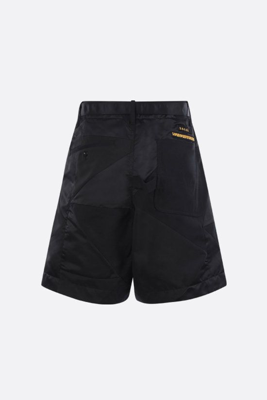 SACAI: wool and nylon patchwork shorts Color Black_2