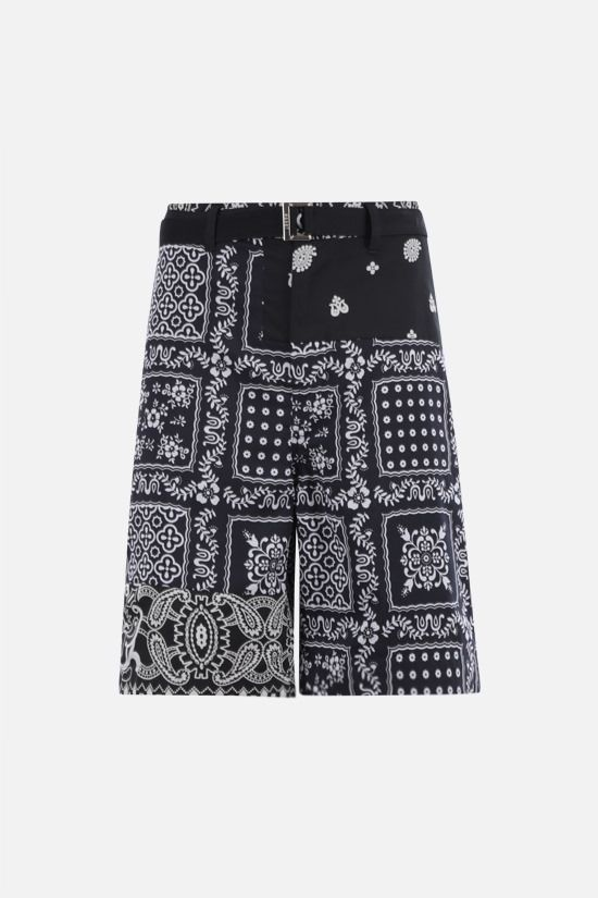 SACAI: Bandana print toile shorts Color Black_1
