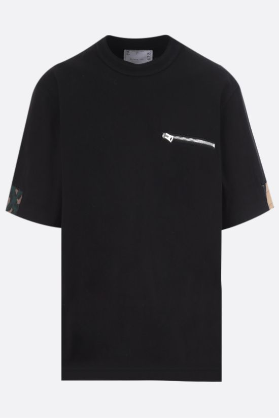 SACAI: t-shirt in cotone con inserti stampati Color Black_1