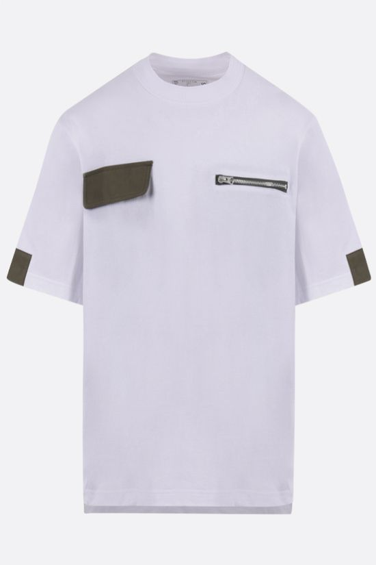 SACAI: nylon-detailed cotton t-shirt Color White_1