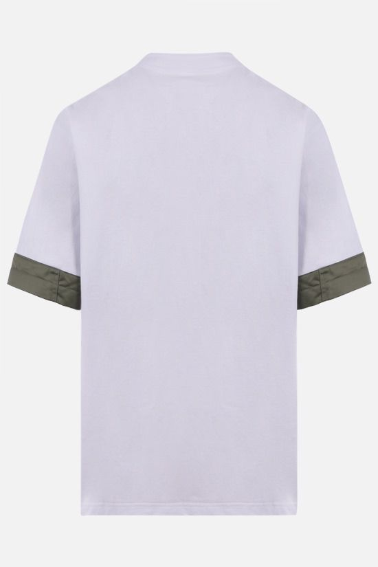 SACAI: nylon-detailed cotton t-shirt Color White_2