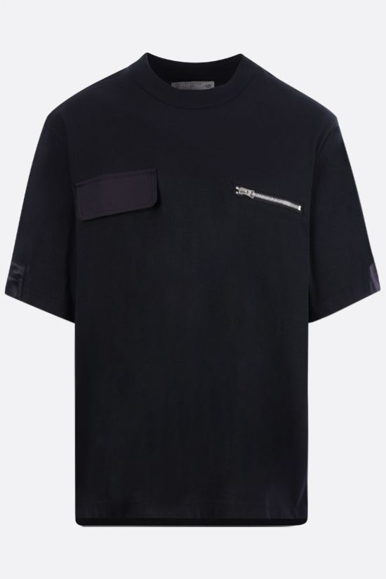 SACAI: nylon-detailed cotton t-shirt Color Blue_1