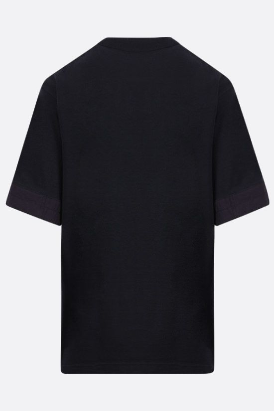 SACAI: nylon-detailed cotton t-shirt Color Blue_2