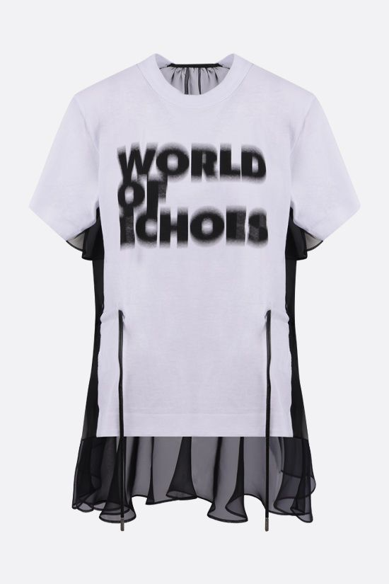SACAI: World Of Echoes print organza and cotton t-shirt Color White_1