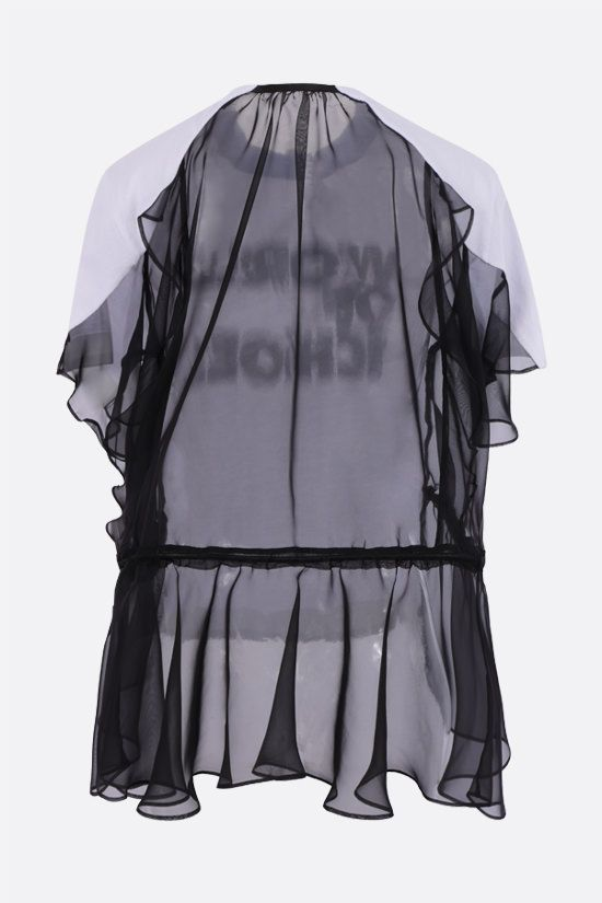 SACAI: World Of Echoes print organza and cotton t-shirt Color White_2