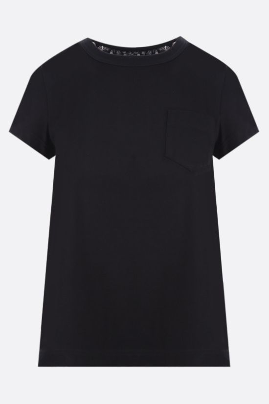 SACAI: pleated organza-detailed cotton t-shirt Color Black_1