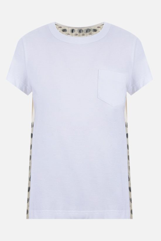 SACAI: pleated organza-detailed cotton t-shirt Color White_1