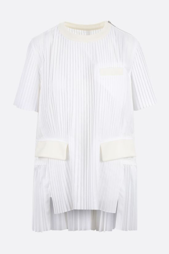SACAI: pleated cotton blend t-shirt Color White_1