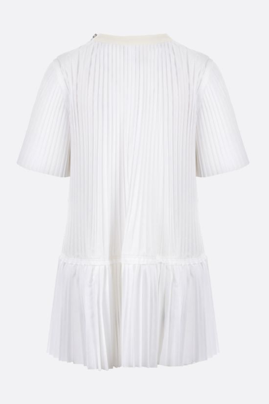 SACAI: pleated cotton blend t-shirt Color White_2