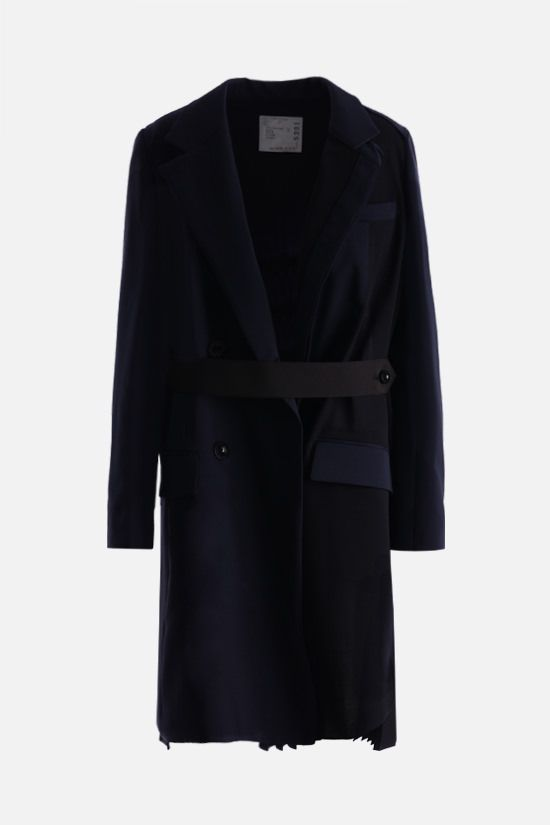 SACAI: technical wool destructured overcoat Color Blue_1