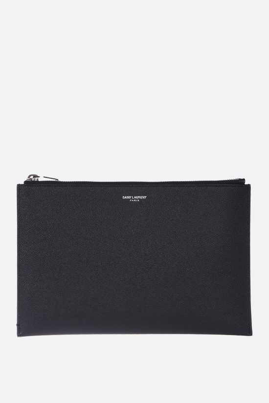 SAINT LAURENT: Grain de Poudre leather tablet holder Color Black_1