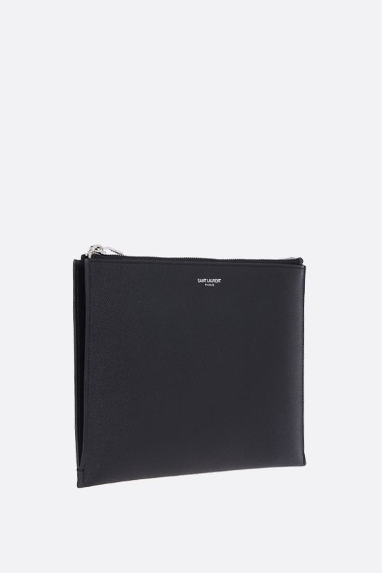 SAINT LAURENT: Grain de Poudre leather tablet holder Color Black_2