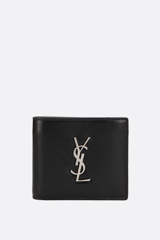 SAINT LAURENT: Monogram smooth leather billfold wallet Color Black_1