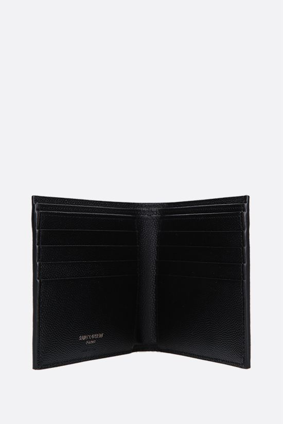 SAINT LAURENT: Monogram billfold wallet in Grain de Poudre leather Color Black_2