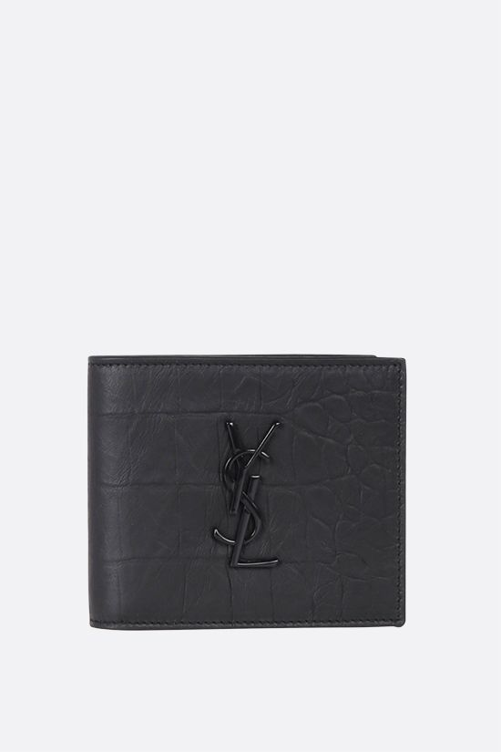 SAINT LAURENT: Monogram crocodile embossed leather billfold wallet Color Black_1