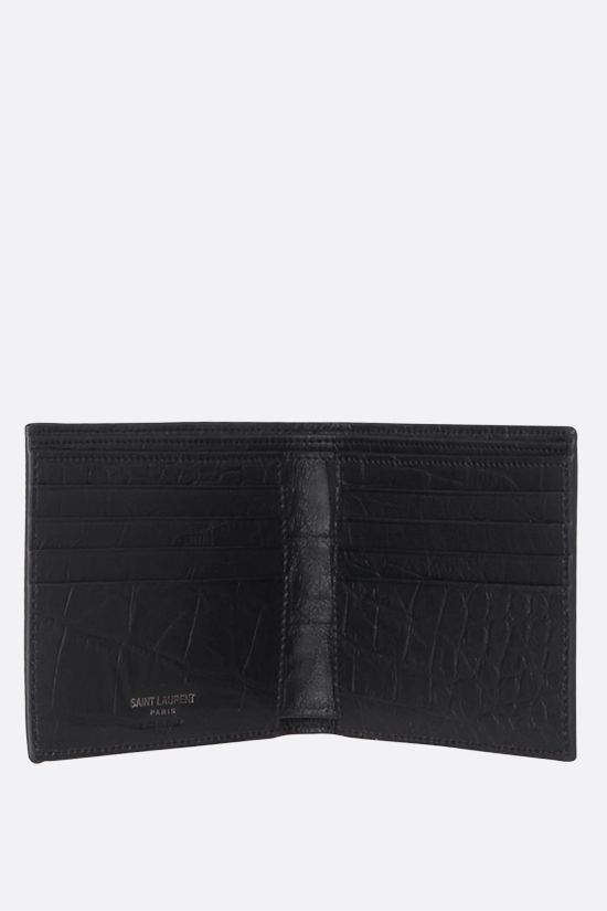 SAINT LAURENT: Monogram crocodile embossed leather billfold wallet Color Black_2