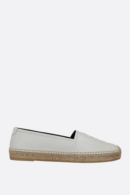 SAINT LAURENT: Monogram smooth leather espadrilles Color White_1