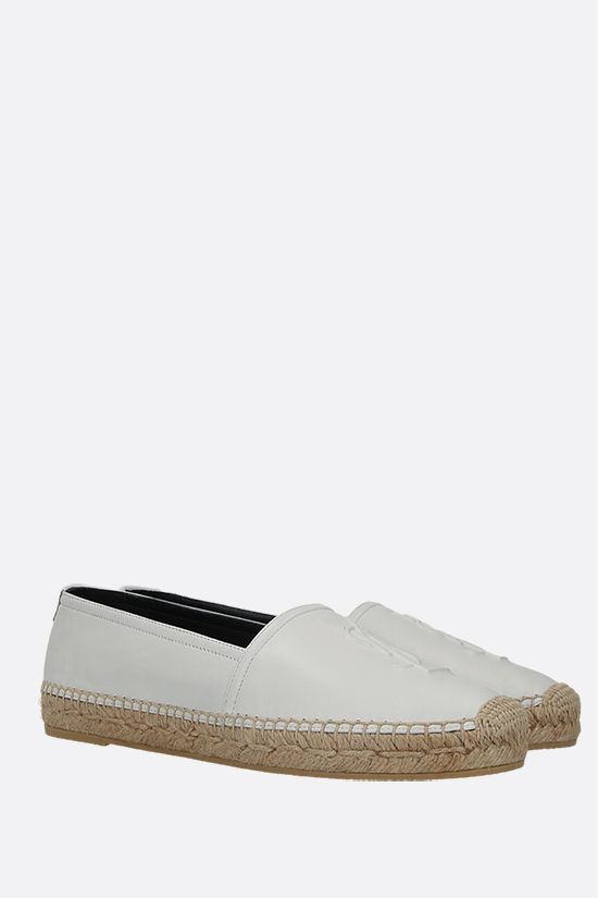 SAINT LAURENT: Monogram smooth leather espadrilles Color White_2
