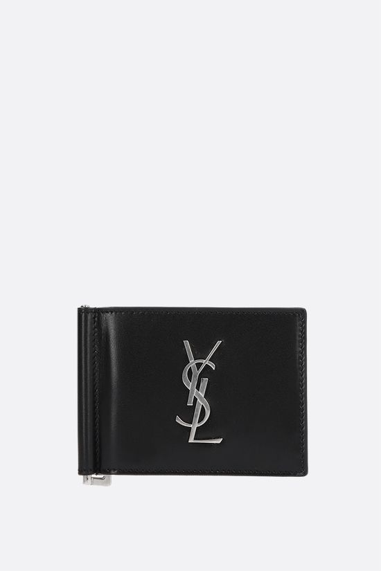 SAINT LAURENT: Monogram smooth leather money clip wallet Color Black_1