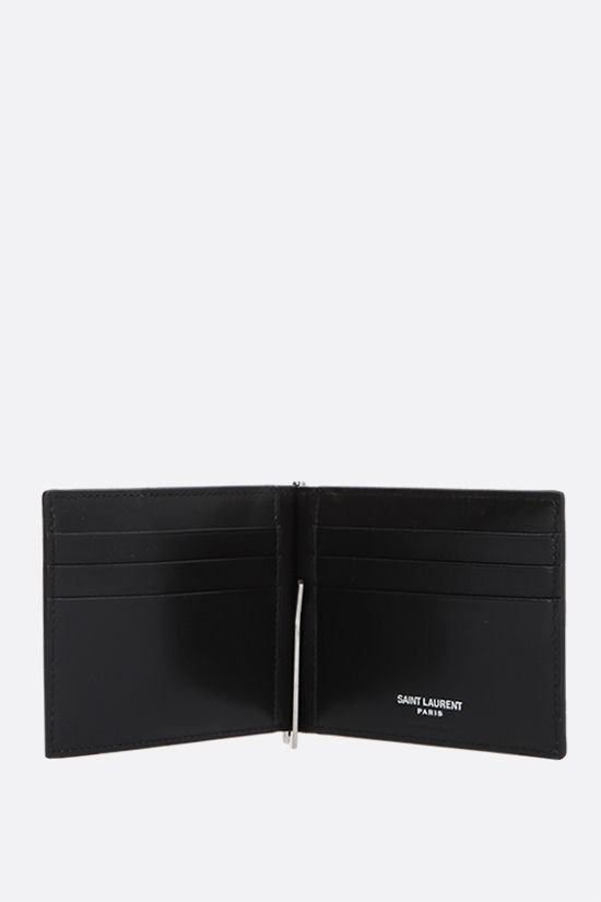 SAINT LAURENT: Monogram smooth leather money clip wallet Color Black_2