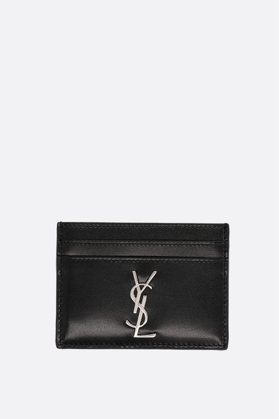 SAINT LAURENT: Monogram smooth leather card case Color Black_1