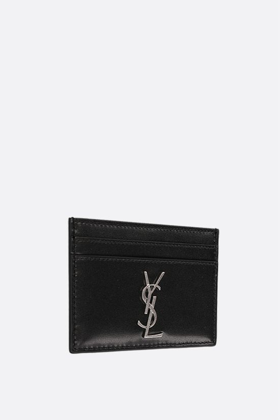 SAINT LAURENT: Monogram smooth leather card case Color Black_2