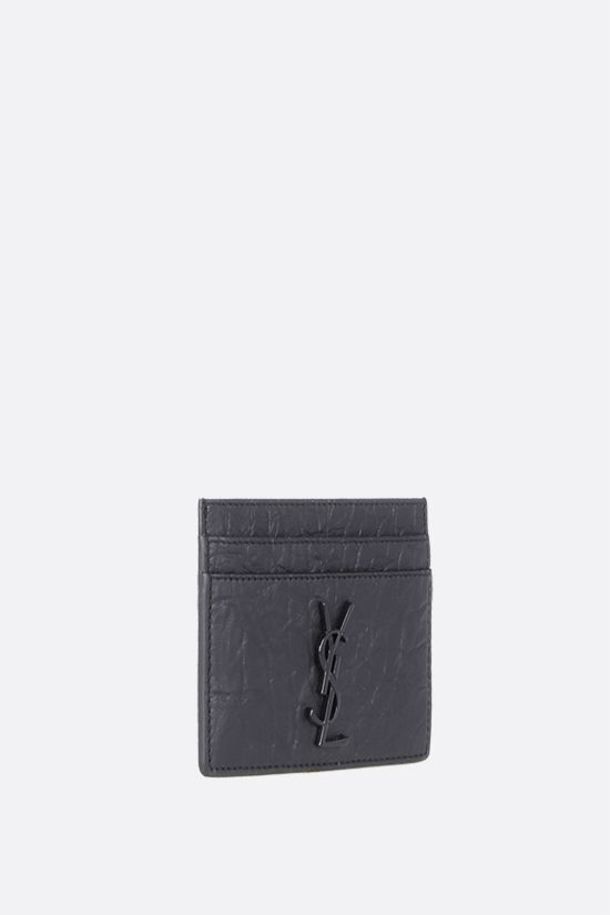 SAINT LAURENT: Monogram crocodile embossed leather card case Color Black_2